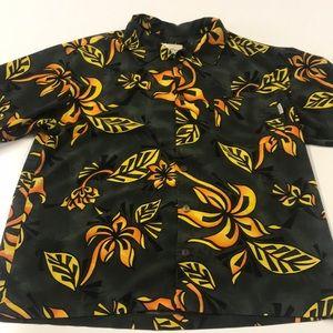 BULLHEAD Green Tropical Hawaiian Shirt Mens Large